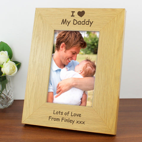 Buy Personalised Oak Finish 4x6 I Heart Photo Frame