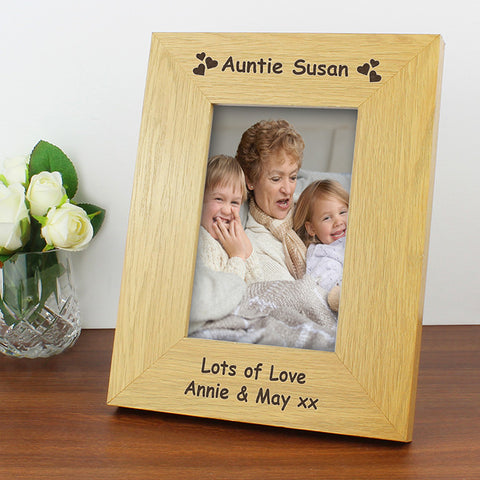 Buy Personalised Oak Finish 4x6 Hearts Photo Frame