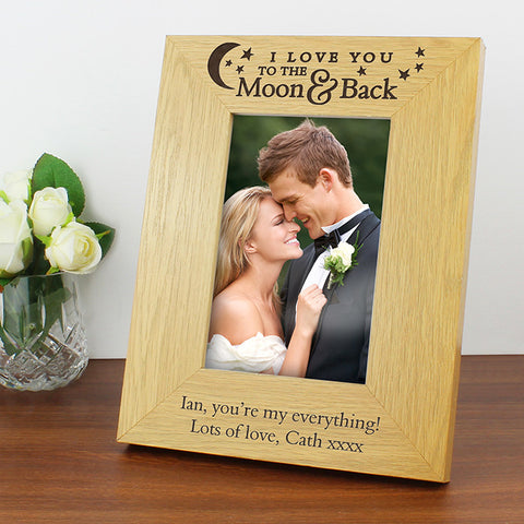 Buy Personalised Oak Finish 4x6 To the Moon and Back... Photo Frame