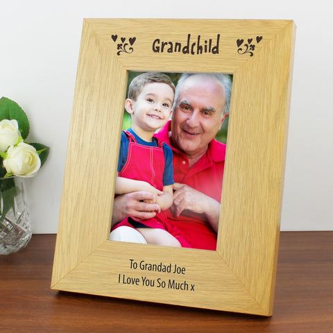 Buy Personalised Oak Finish 4x6 Grandchild Photo Frame