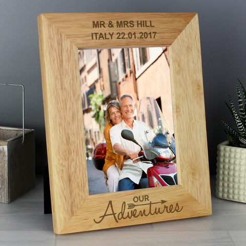 Buy Personalised Our Adventures 4x6 Wooden Photo Frame