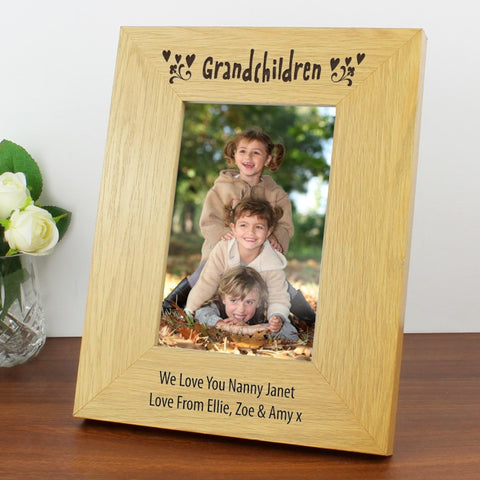Buy Personalised Oak Finish 4x6 Grandchildren Photo Frame