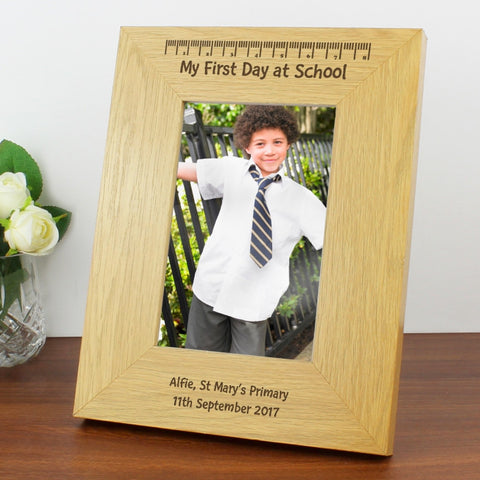 Buy Personalised Oak Finish 4x6 My First Day At School Photo Frame