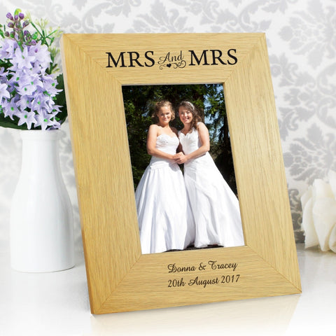 Buy Personalised Oak Finish 4x6 Mrs & Mrs Photo Frame