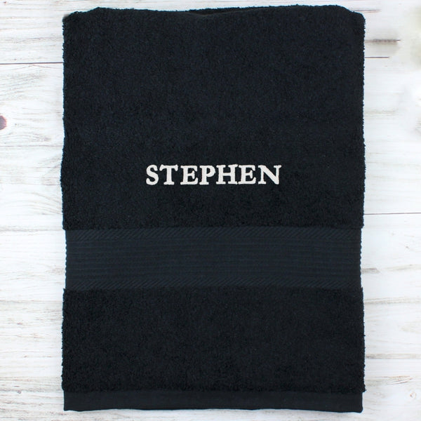 personalised-black-bath-towel