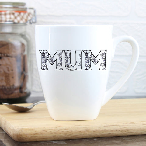 Buy Personalised Flower Pattern Latte Mug