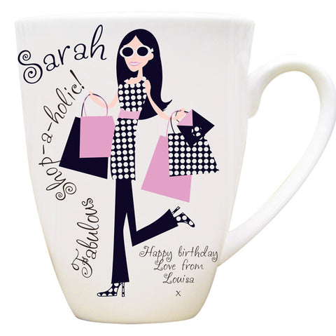 Buy Personalised Fabulous Shopaholic Latte Mug