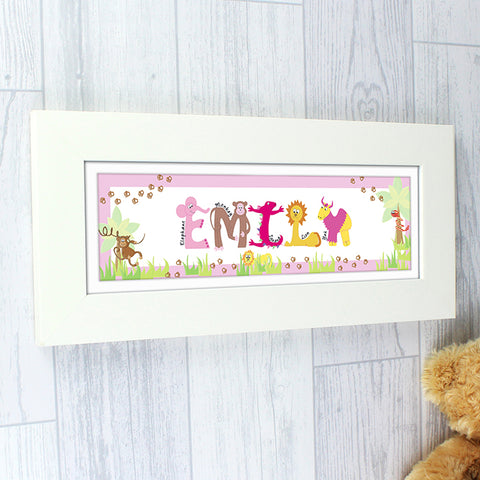 Buy Personalised Animal Name Frame Pink