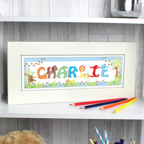 Buy Personalised Animal Name Frame blue
