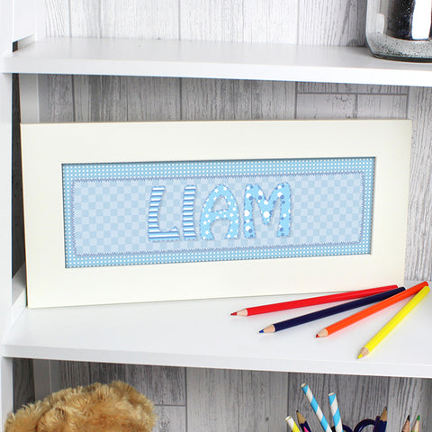 Buy Personalised Blue Stitch Name Frame