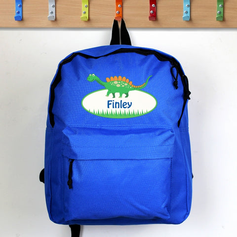 Buy Personalised Dinosaur Blue Backpack
