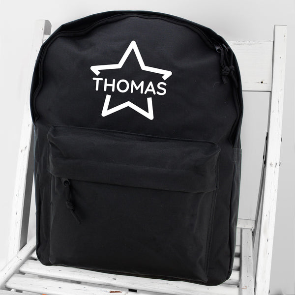 Personalised Star Black Backpack