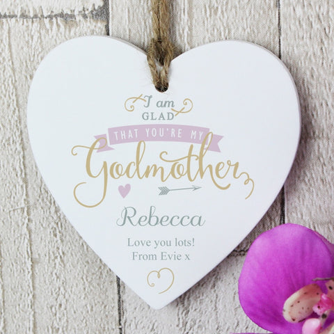 Buy Personalised I Am Glad... Godmother Wooden Heart Decoration