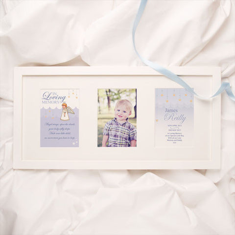 Personalised Baby and Child Memorial Print: Boy Angel Design 3 Aperture Frame | ShaneToddGifts.co.uk