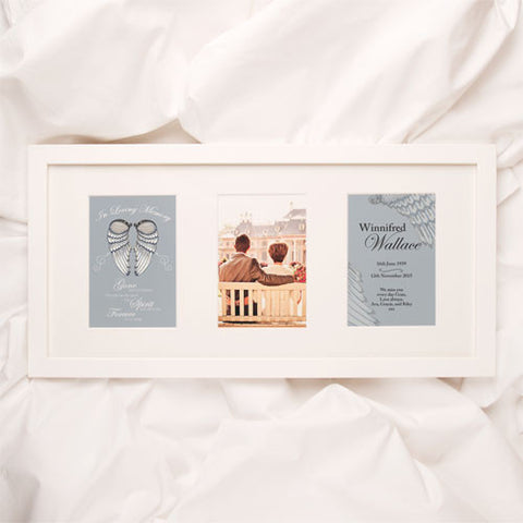 Personalised Angel Wings Memorial Print 3 Aperture Frame | ShaneToddGifts.co.uk
