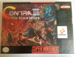 Contra III (3): The Alien Wars (Super Nintendo, SNES) - Reproduction Video Game Cartridge with Universal Game Case and Manual - CrebbaTECH