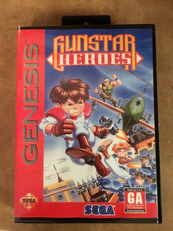 Gunstar Heroes (Sega Genesis / Megadrive) - Reproduction Video Game Cartridge with Clamshell Case and Manual - CrebbaTECH