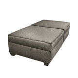 The Duobeds Twin Bed with Storage, with storage ottomans, is convenient seating furniture by day and a comfortable twin bed at night.