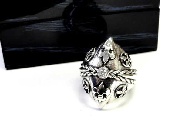 Men's Diamond Silver Fleur De Li Ring With Angels Wings By Sacred Angels
