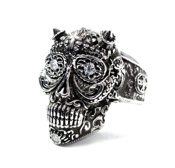 Day Of The Dead Skull Ring With Natural Diamonds By Sacred Angels