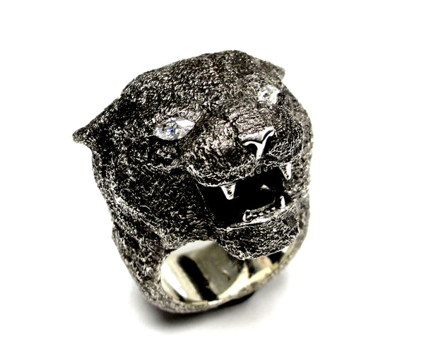 Men's Black Panther Heavy Silver Ring With White Diamonds By Sacred Angels
