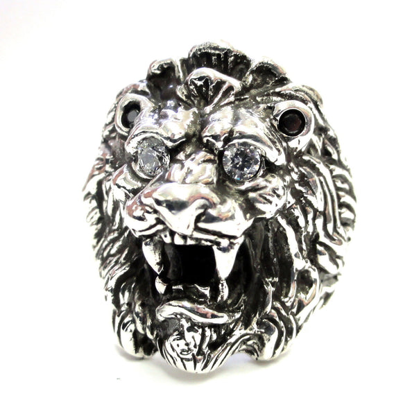 Men's King Lion Head Ring With Black And White Diamonds By Sacred Angels