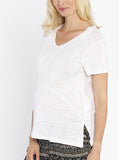Summer Linen V-Neck Blouse Top- White