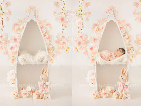 Newborn digital background - Blossom, boat & bunny