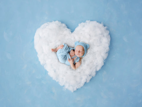 Newborn Photography Digital Backdrop for boys or girls - White cloud heart on painted blue backdrop