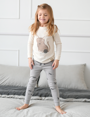 Meow Kitty Girls Organic Pajamas
