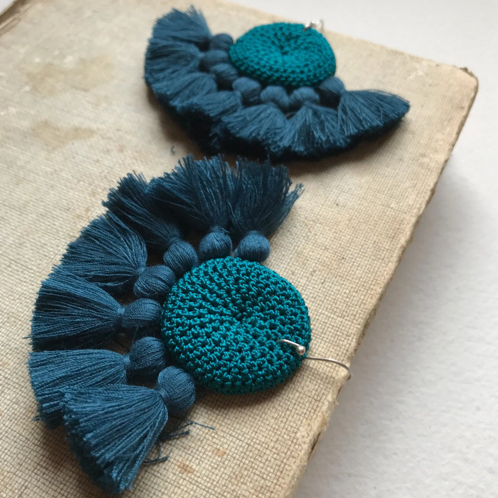 Crochet Disc Tassel Earrings - Turquoise & Turquoise - Hamimi Design