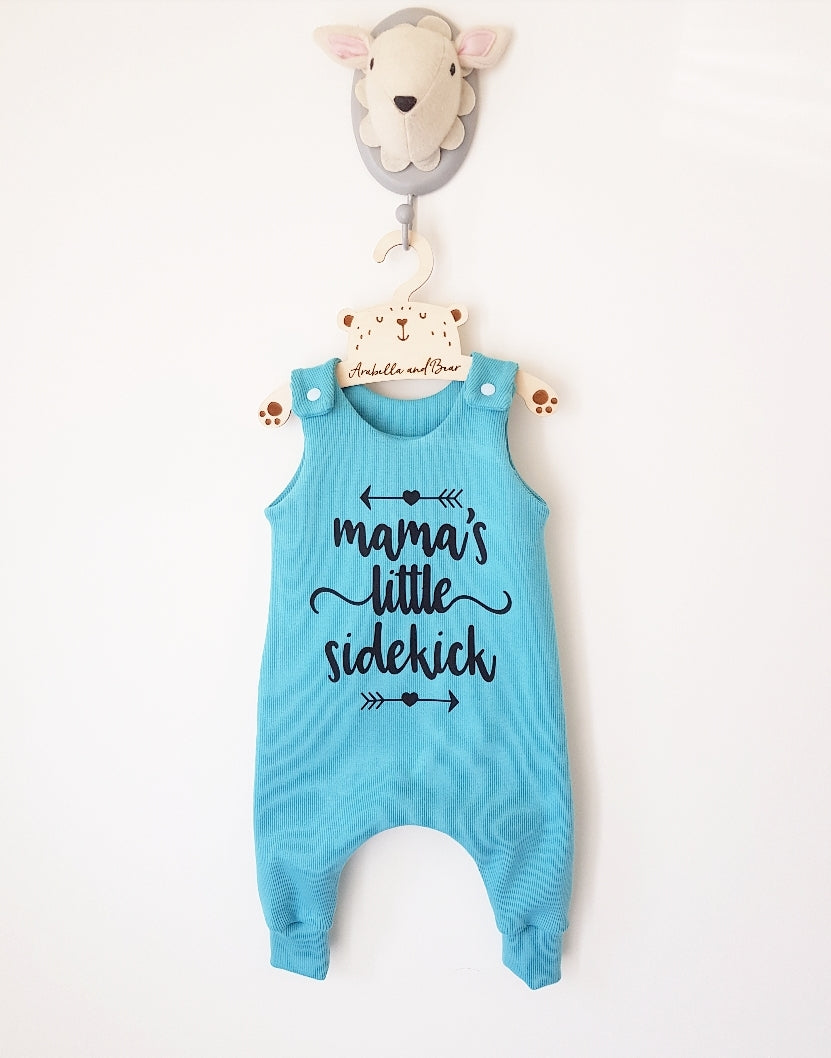 Organic Mamas little sidekick romper, in light turquoise