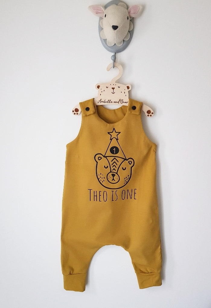 Mustard Birthday Bear romper with childs name and age