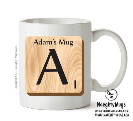 "Initial ""A"" Your Name Scrabble Mug"
