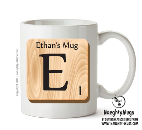 "Initial ""E"" Your Name Scrabble Mug FUNNY Gift Office Mug Funny Humour"
