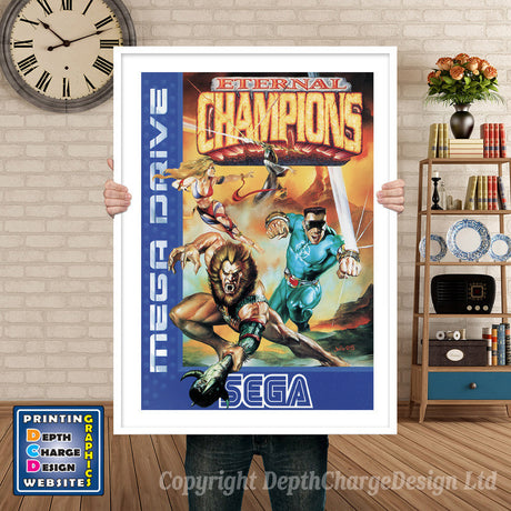 Eternal Champions Eu - Sega Megadrive Inspired Retro Gaming Poster A4 A3 A2 Or A1