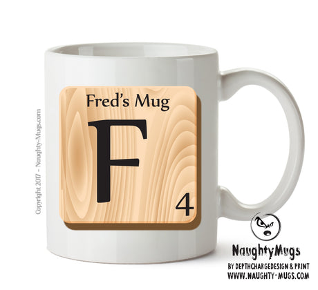 "Initial ""F"" Your Name Scrabble Mug FUNNY Gift Office Mug Funny Humour"