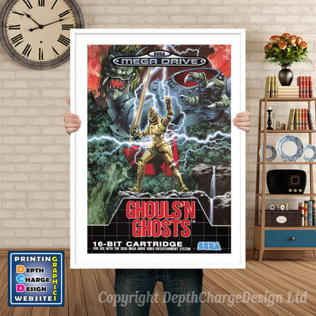 Ghouls N Ghosts Eu - Sega Megadrive Inspired Retro Gaming Poster A4 A3 A2 Or A1
