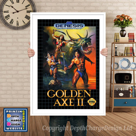 Golden Axe 2 Eu - Sega Megadrive Inspired Retro Gaming Poster A4 A3 A2 Or A1