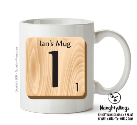 "Initial ""I"" Your Name Scrabble Mug FUNNY Gift Office Mug Funny Humour"