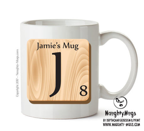 "Initial ""J"" Your Name Scrabble Mug FUNNY Gift Office Mug Funny Humour"