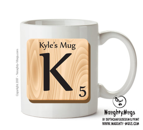 "Initial ""K"" Your Name Scrabble Mug FUNNY Gift Office Mug Funny Humour"