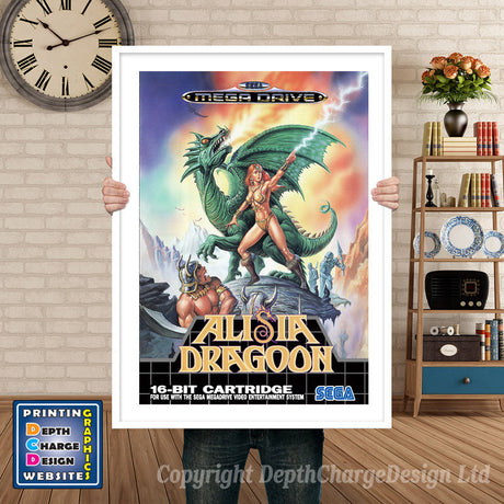 Alisia Dragoon Eu - Sega Megadrive Inspired Retro Gaming Poster A4 A3 A2 Or A1