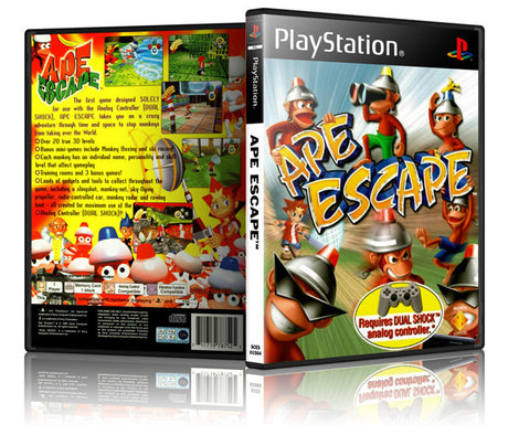 Ape Escape Game Cover To Fit A PS1 PLAYSTATION Style Replacement Game Case