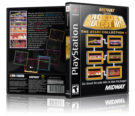 Arcades Greatest Hits Game Cover To Fit A PS1 PLAYSTATION Style Replacement Game Case