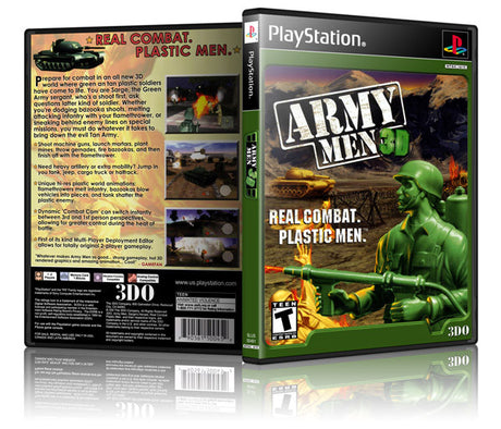 Army Men 3D Game Cover To Fit A PS1 PLAYSTATION Style Replacement Game Case