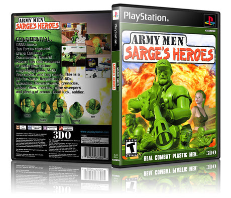 Army Men Sarges Heros Game Cover To Fit A PS1 PLAYSTATION Style Replacement Game Case