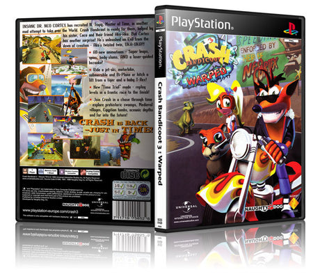 Crash Bandicoot Warped 3 Game Cover To Fit A PS1 PLAYSTATION Style Replacement Game Case