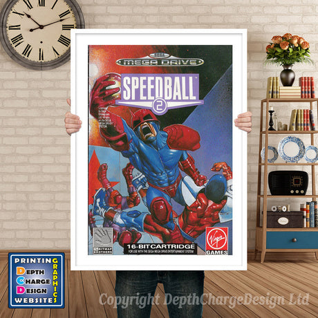 Speedball 2 Pal - Sega Megadrive Inspired Retro Gaming Poster A4 A3 A2 Or A1
