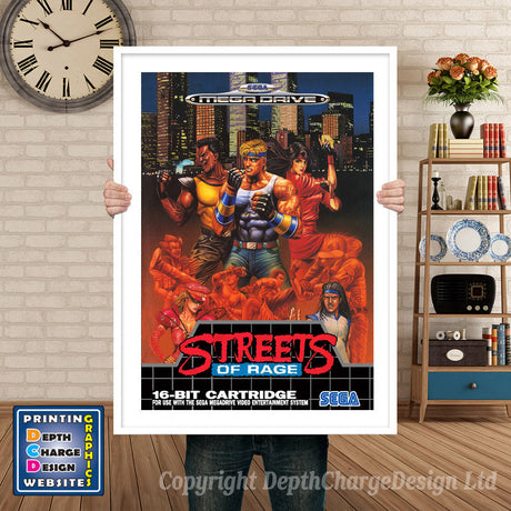 Streets Of Rage Eu - Sega Megadrive Inspired Retro Gaming Poster A4 A3 A2 Or A1